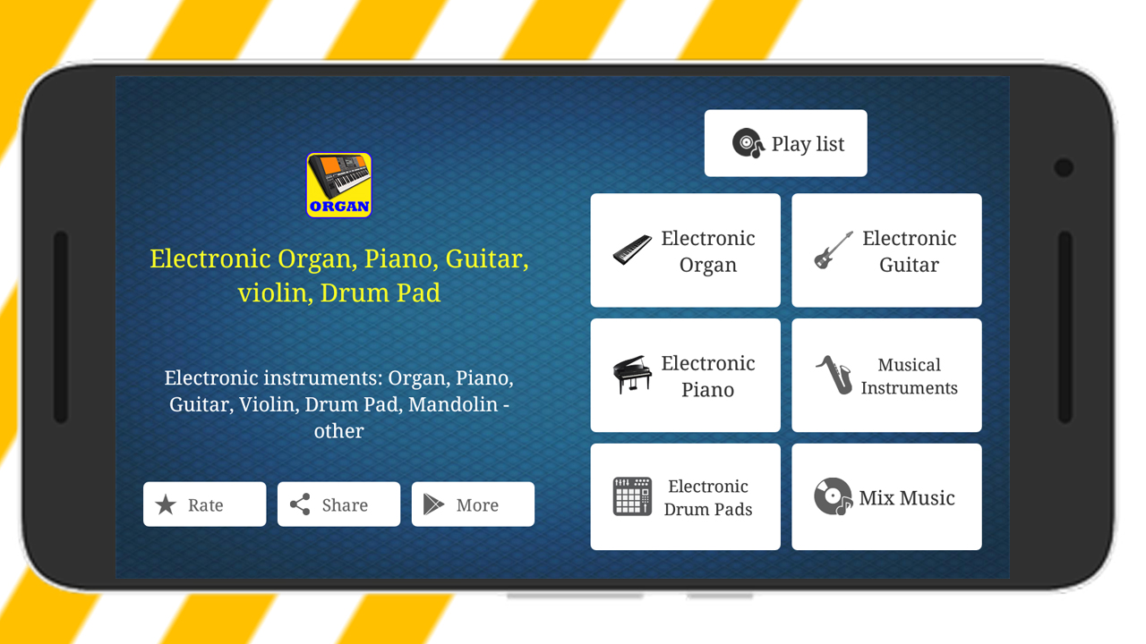 Electronic Organ, Piano, Guitar, violin, Drum Pad